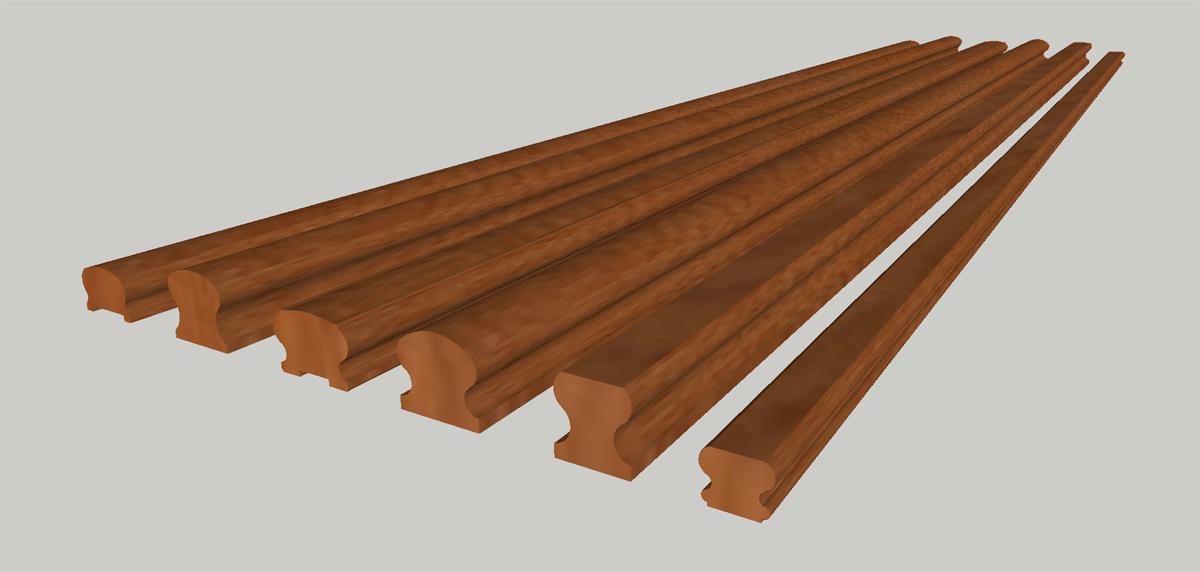 3D модель поручень деревянный