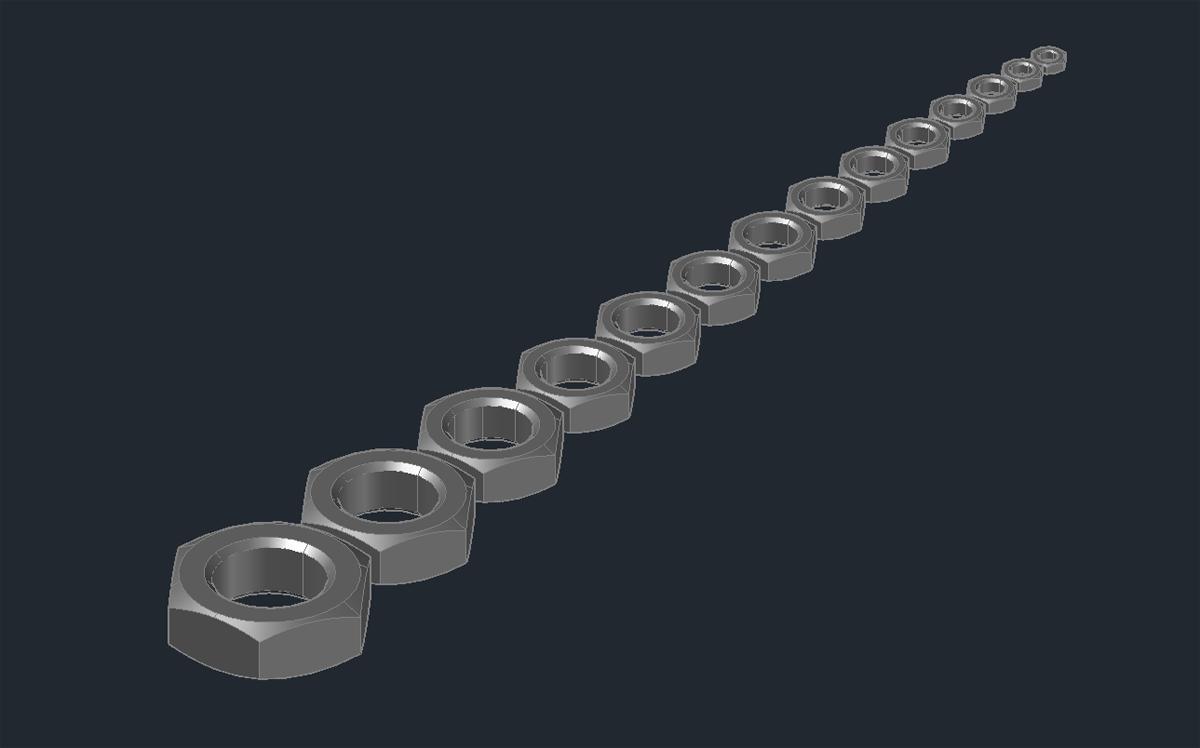 3D модель шестигранной гайки ГОСТ 2526-70