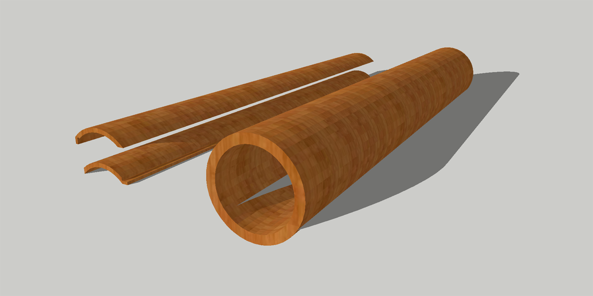 3D модель труба из дерева