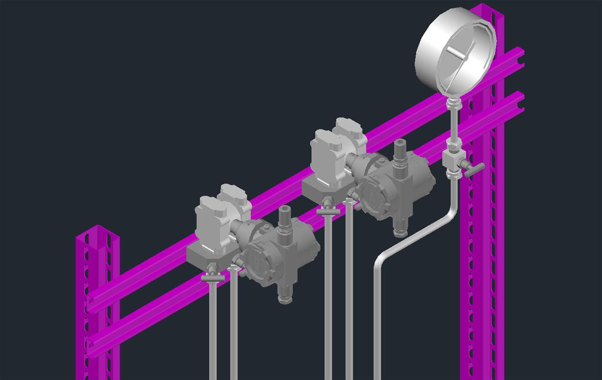 3D модель стенда манометров