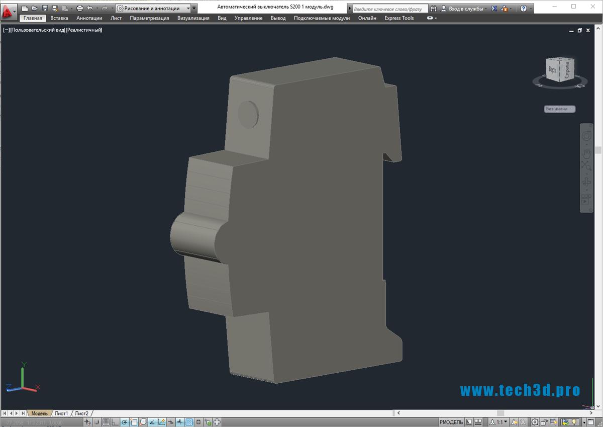 3D-модель автоматического выключателя ABB