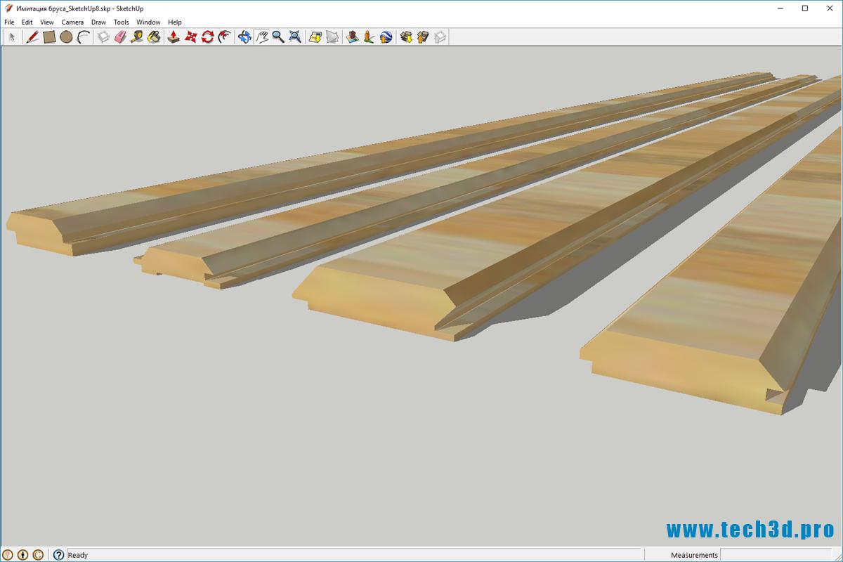 3D модель имитации бруса