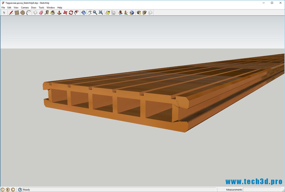 3D модель террасной доски DORTMAX