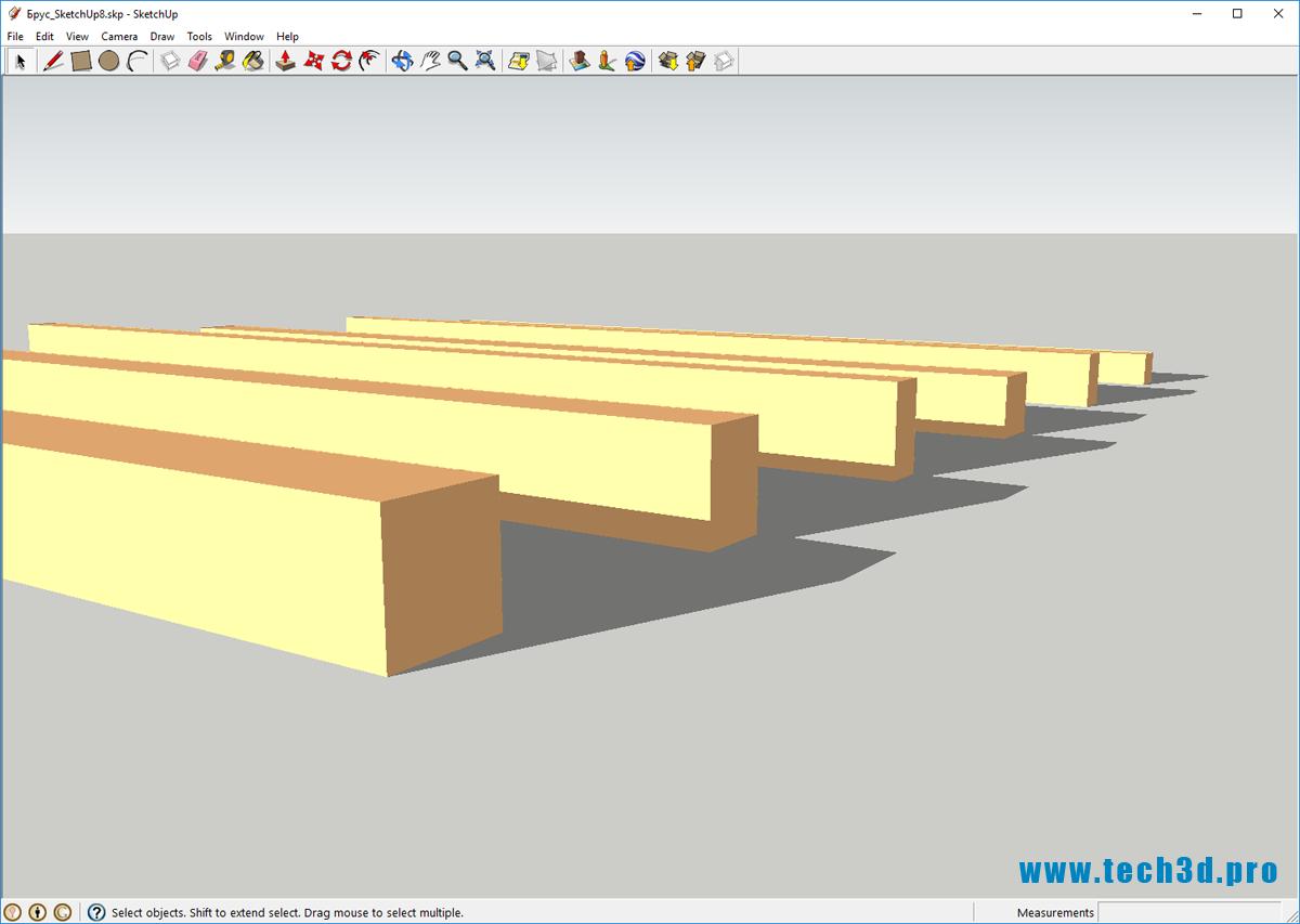 3D модель деревянного бруса