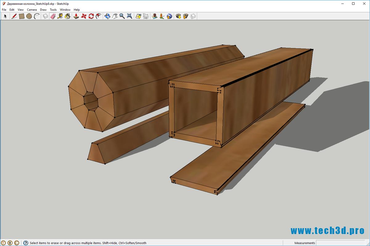 3D модель деревянной колонны
