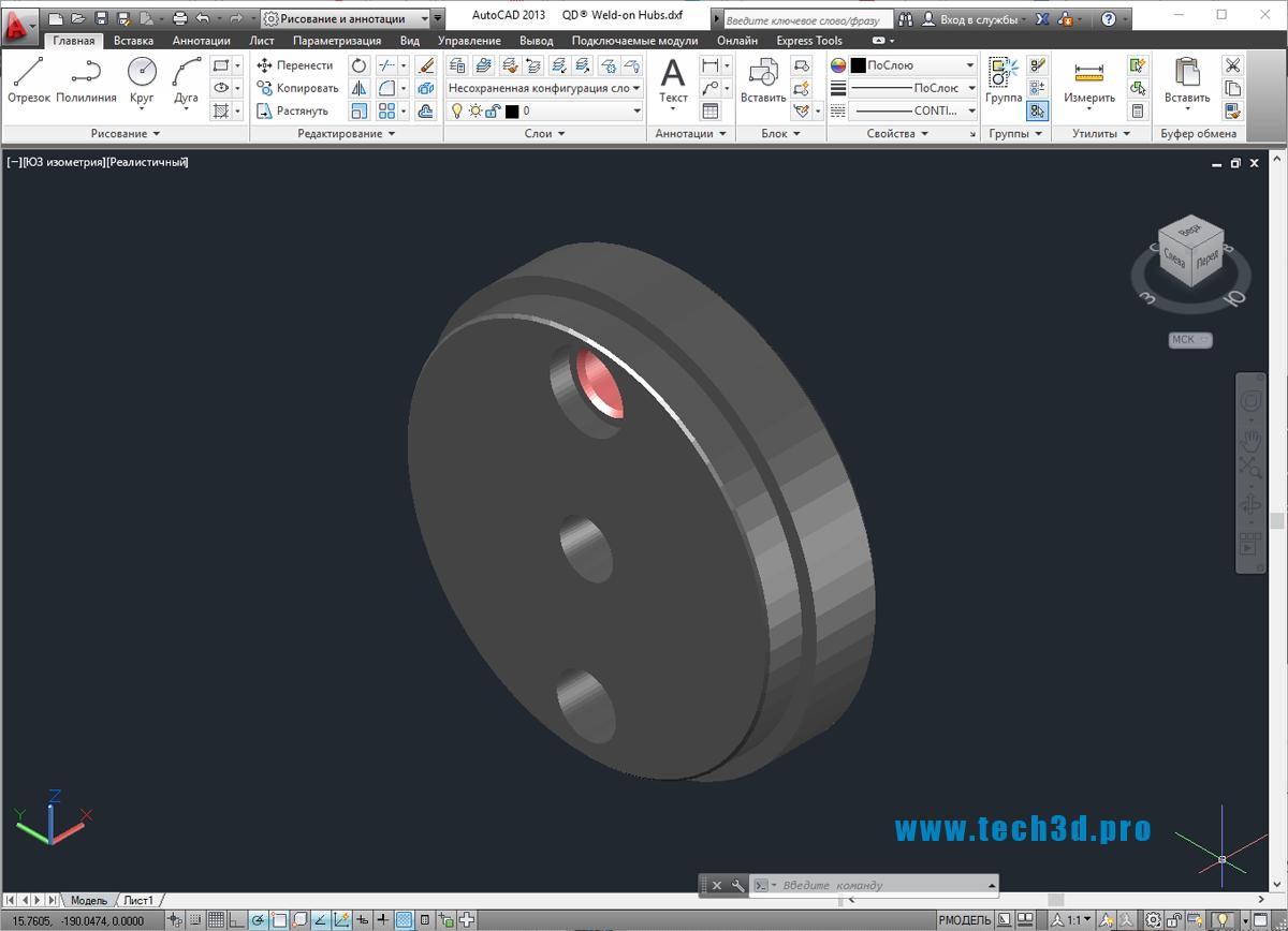 3D модель ступицы муфты приварной