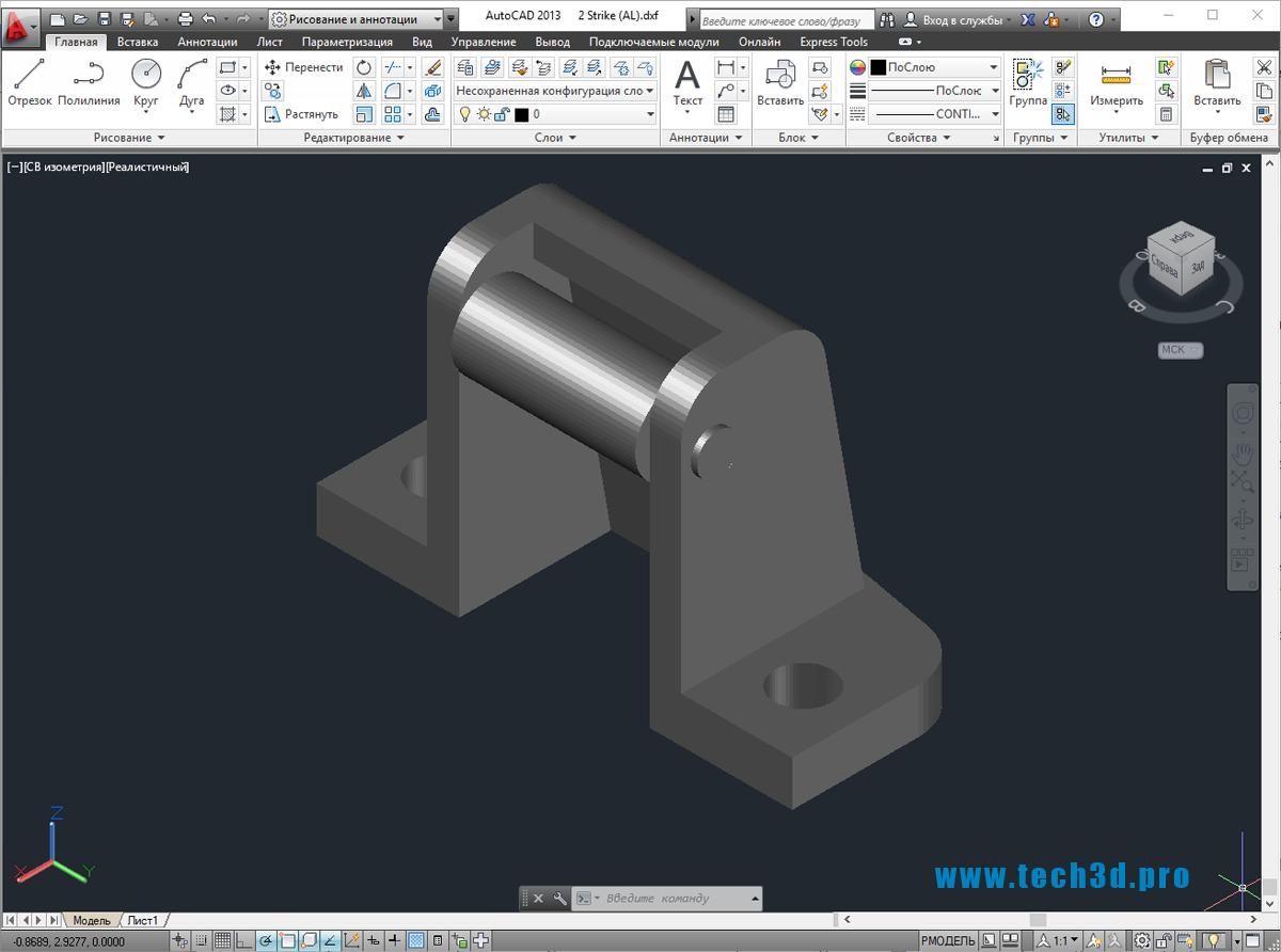 3D модель механизма барабанной лебедки