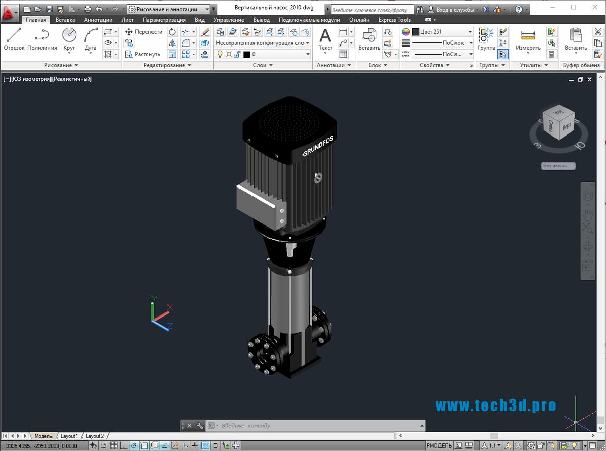 3D модель вертикального многоступенчатого насоса