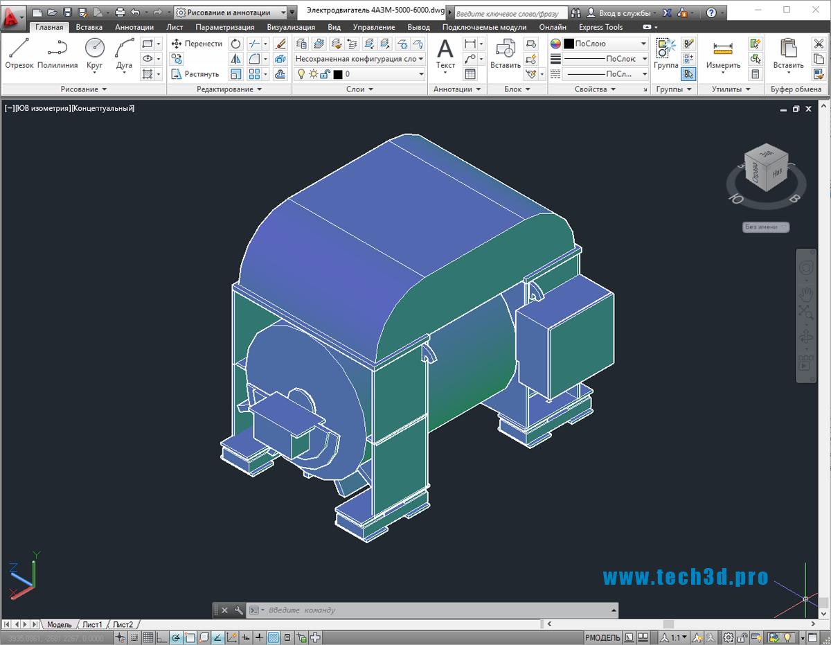 3D-модель электродвигателя 4АЗМ