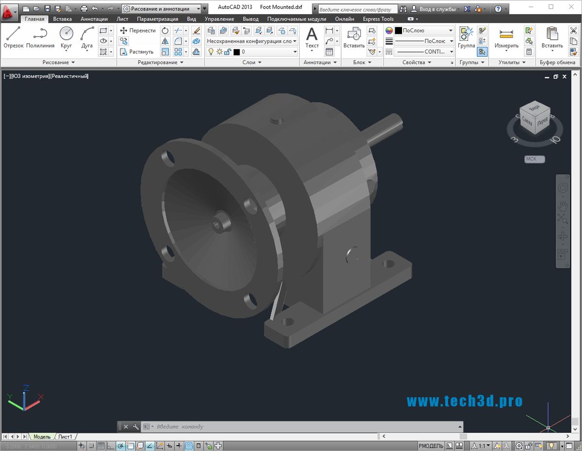 3D-модель червячного редуктора