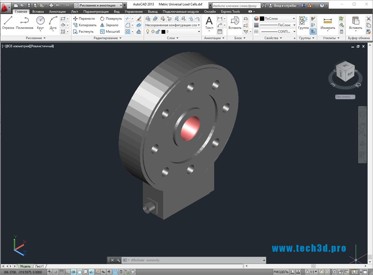 3D-модель тензометрического датчика
