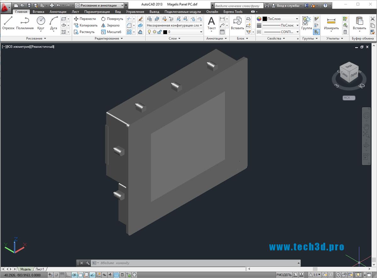 3D-модель промышленного дисплея