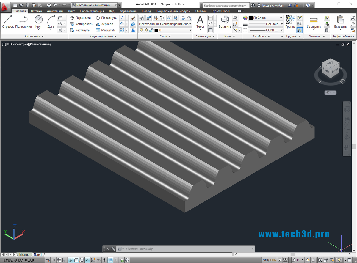3D-модель неопренового ремня