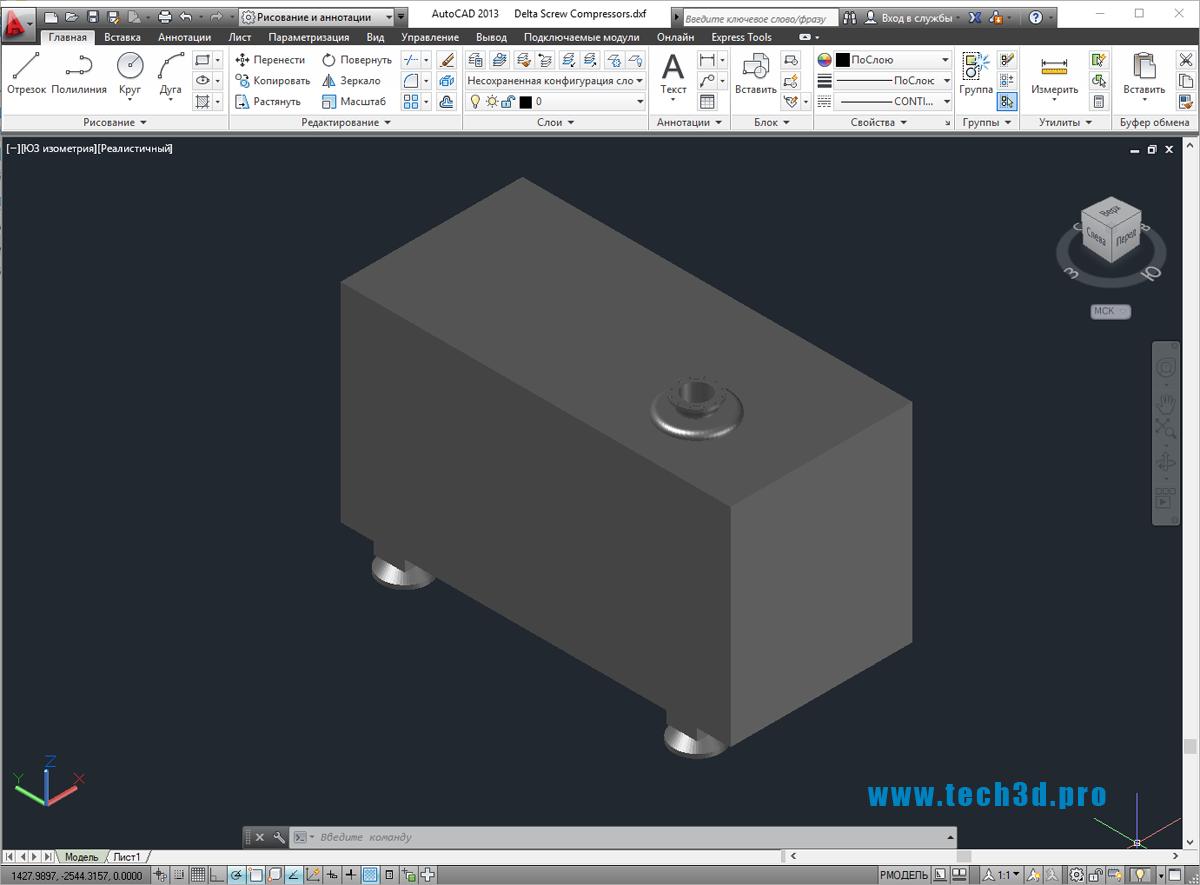 3D-модель устройства винтового компрессора