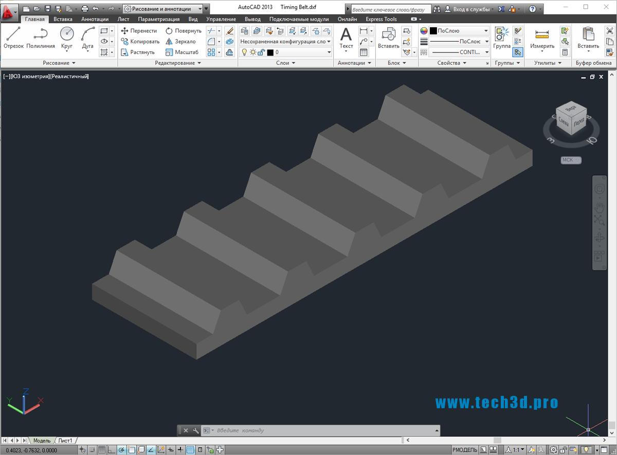 3D-модель зубчатого приводного ремня