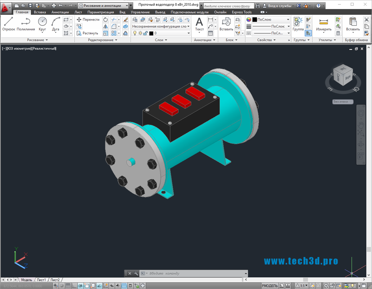3D-модель водонагревателя проточной воды