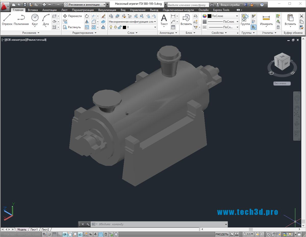3D-модель насосного агрегата ПЭ 580-195-5