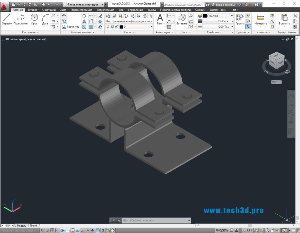 3D-модель хомута стального