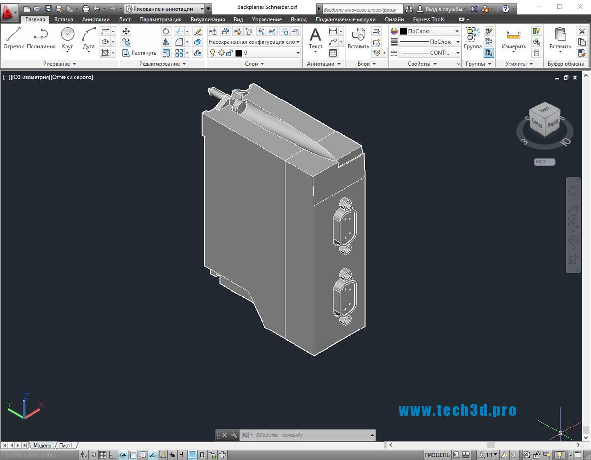 3D-модель преобразователя com портов