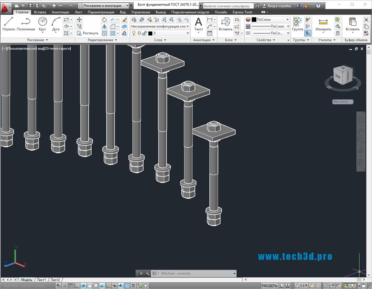 3D-модель болта фундаментного