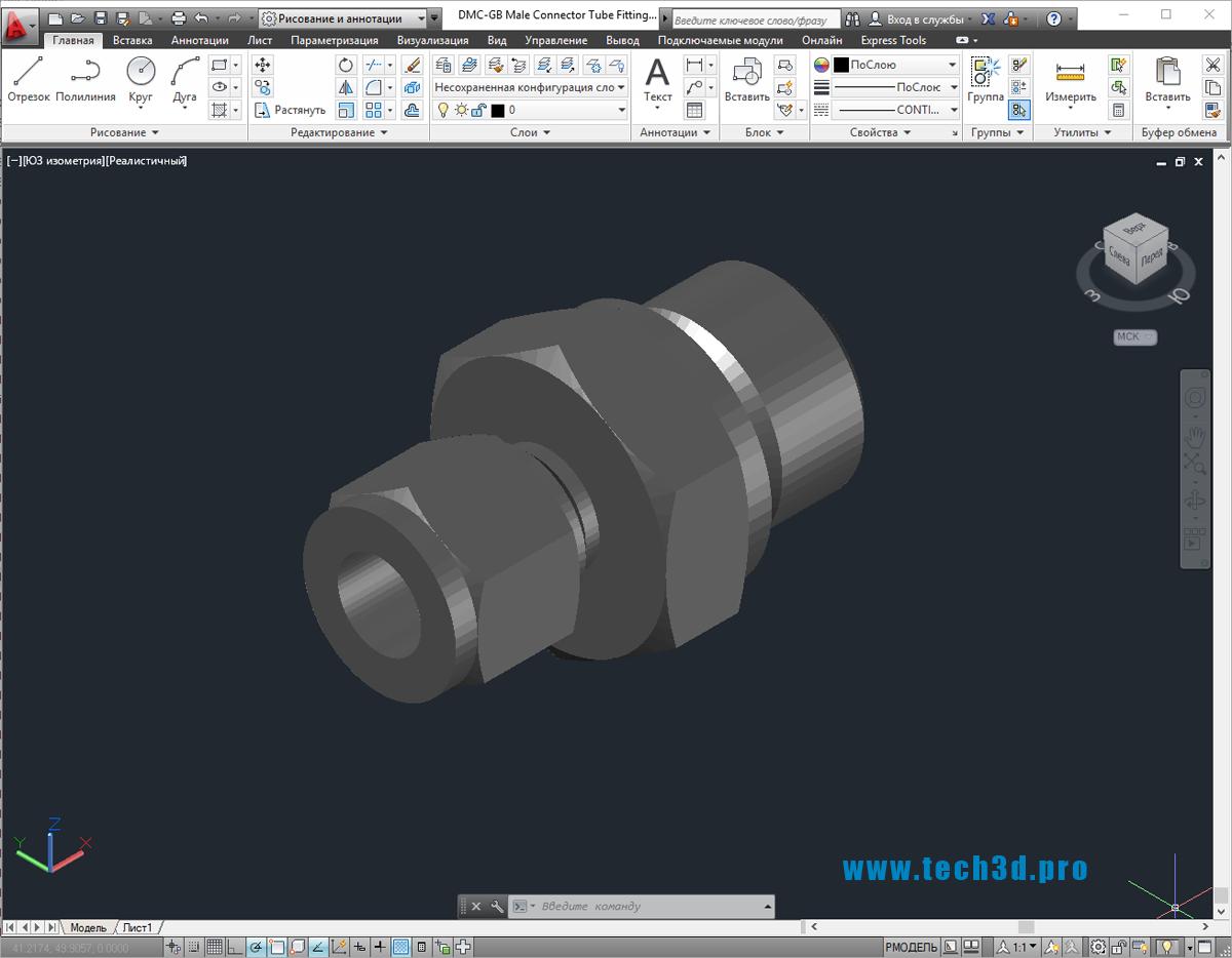 3D-модель фитинга стального