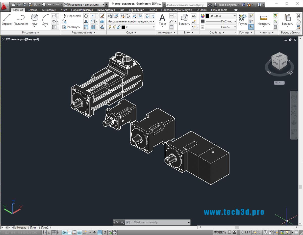3D-модель мотор-редуктора