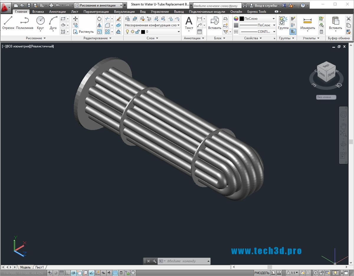 3D-модель подогревателя пароводяного
