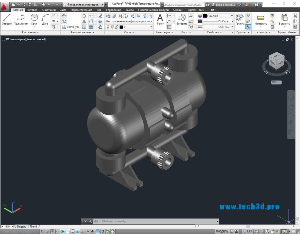3D-модель шестеренчатого насоса