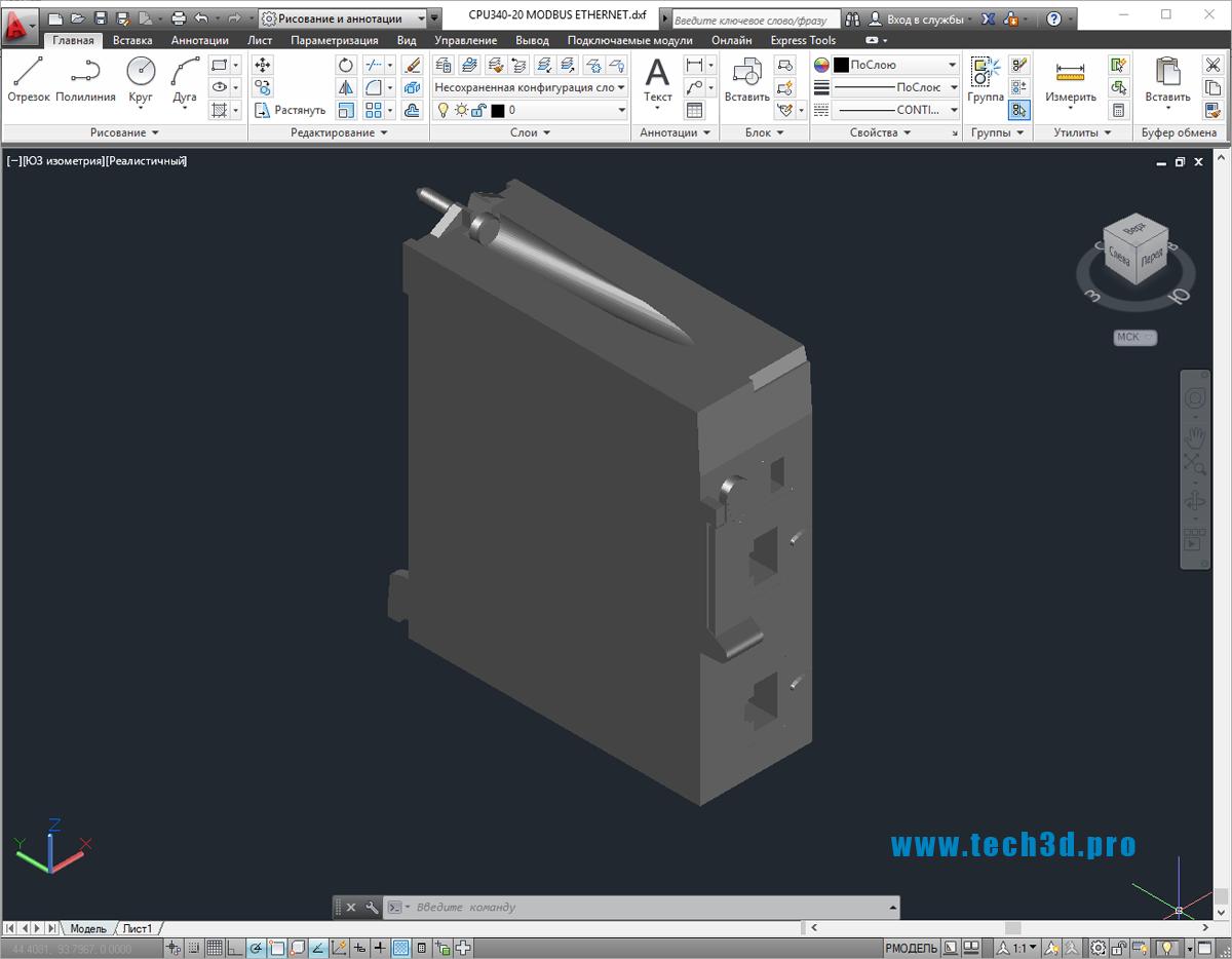 3D-модель преобразователя интерфейса Ethernet