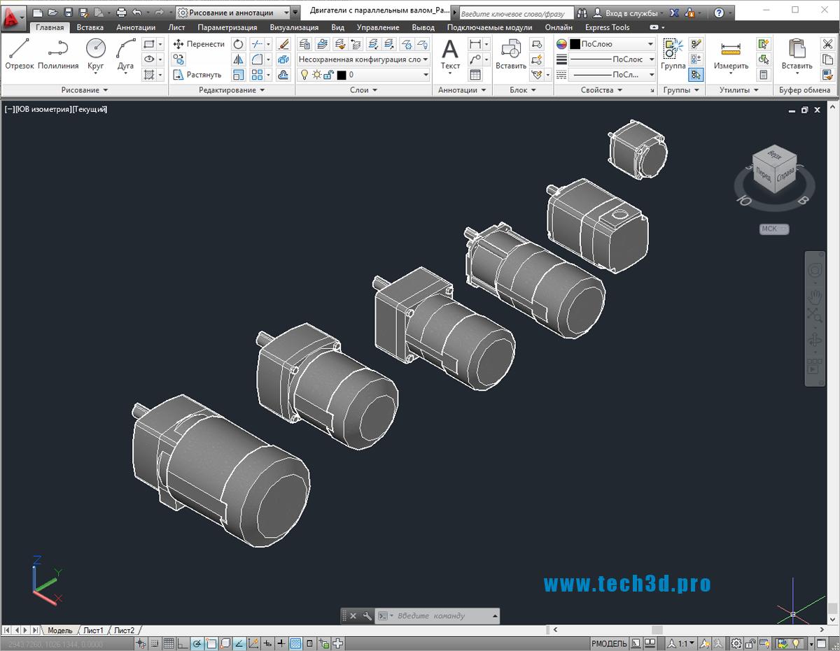 3D-модель двигателя с параллельным валом