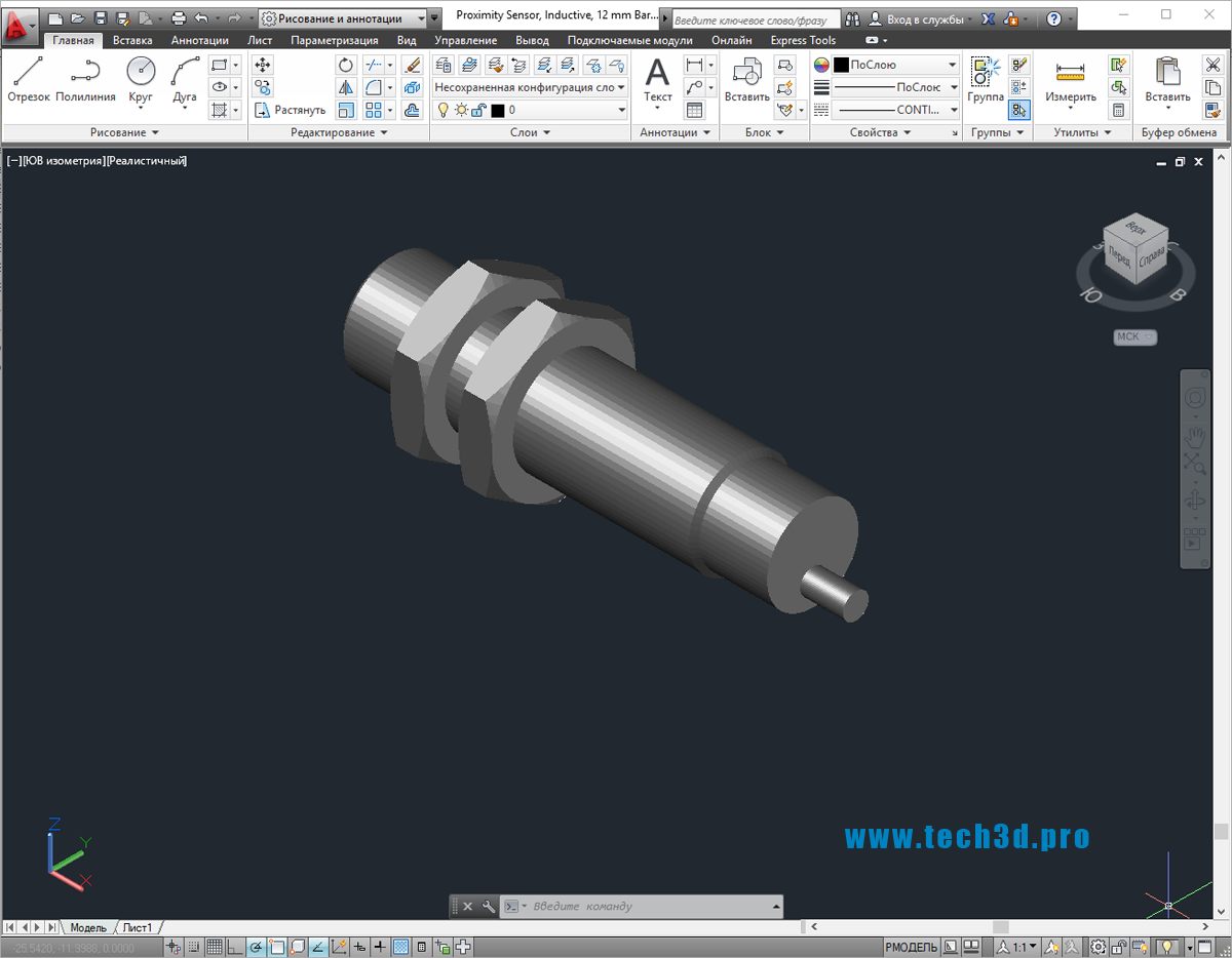 3D-модель индуктивного датчика