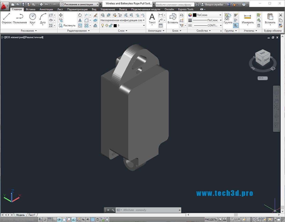 3D-модель датчика потенциометра