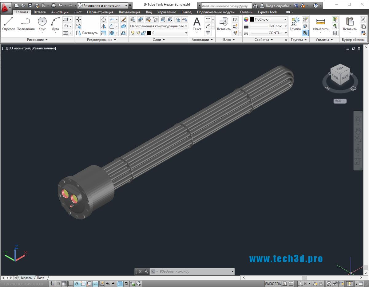3D-модель кожухотрубного теплообменника