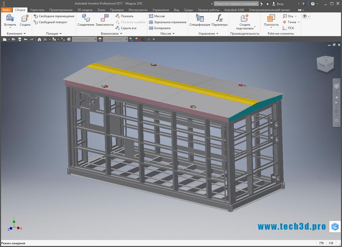 3D-модель каркасной схемы здания