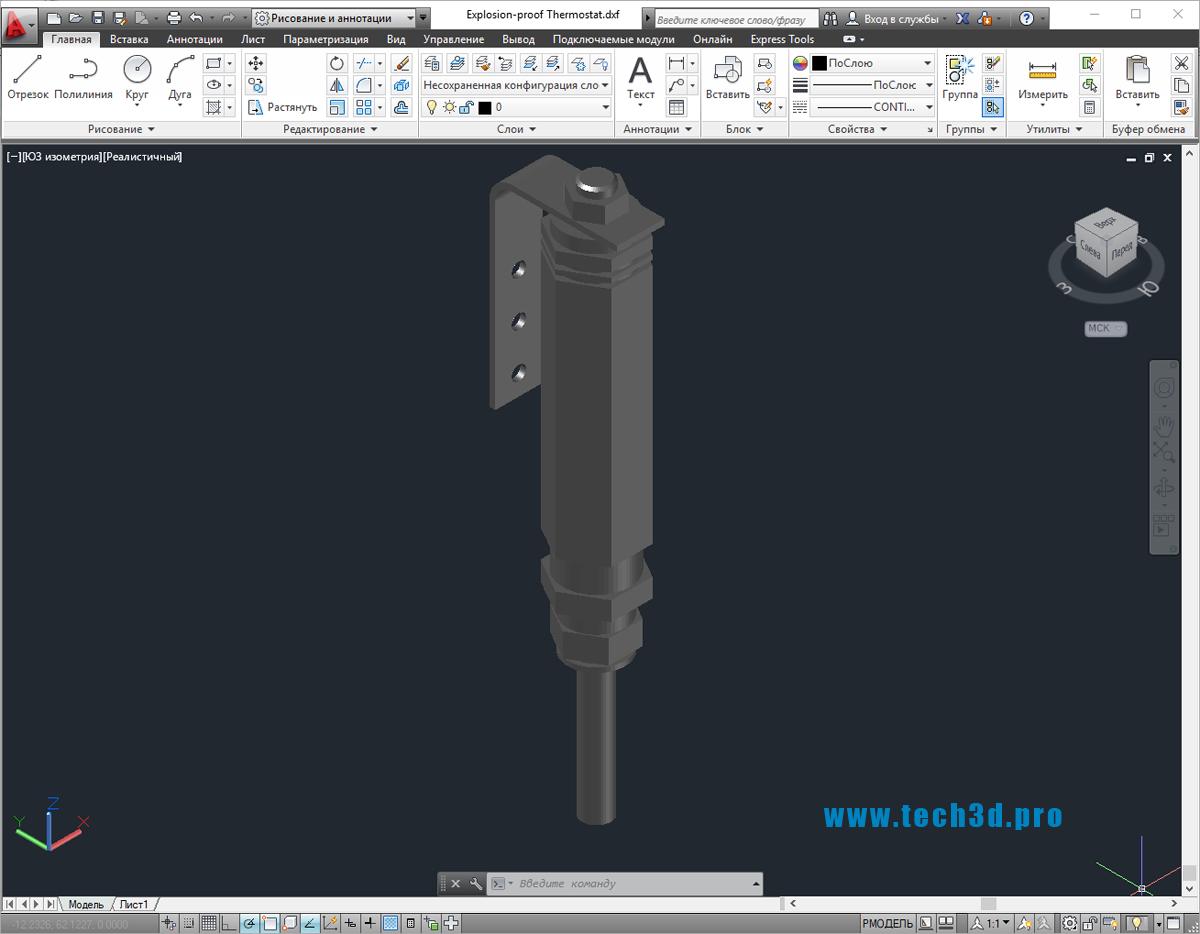 3D-модель термостата электрического