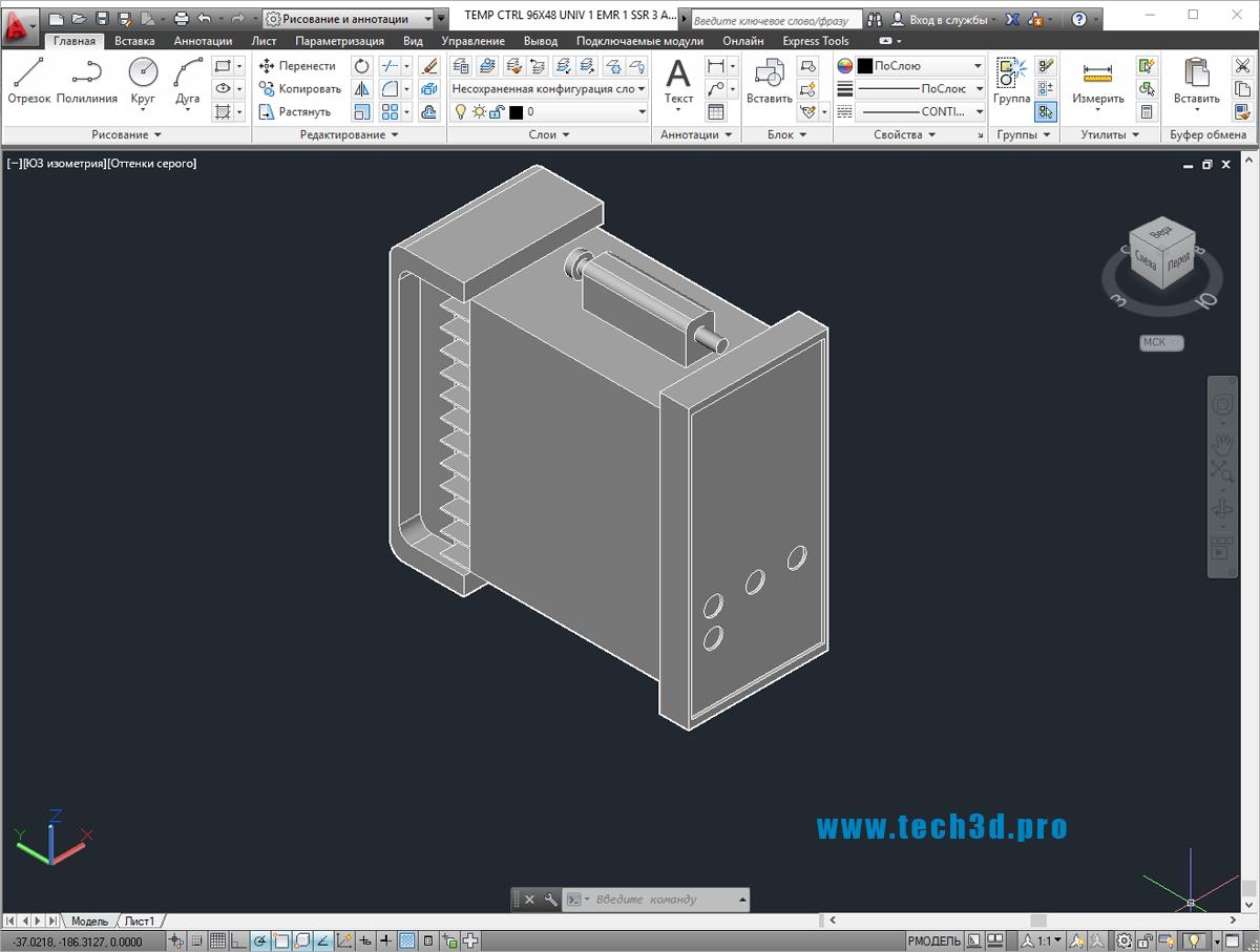 3D модель регулятора температуры с Modbus