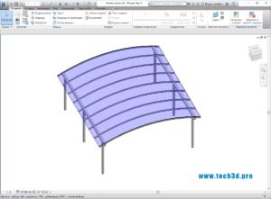 3D модель арочного навеса для автомобиля