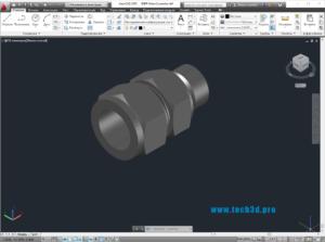 3D модель муфты с резьбой BSPP