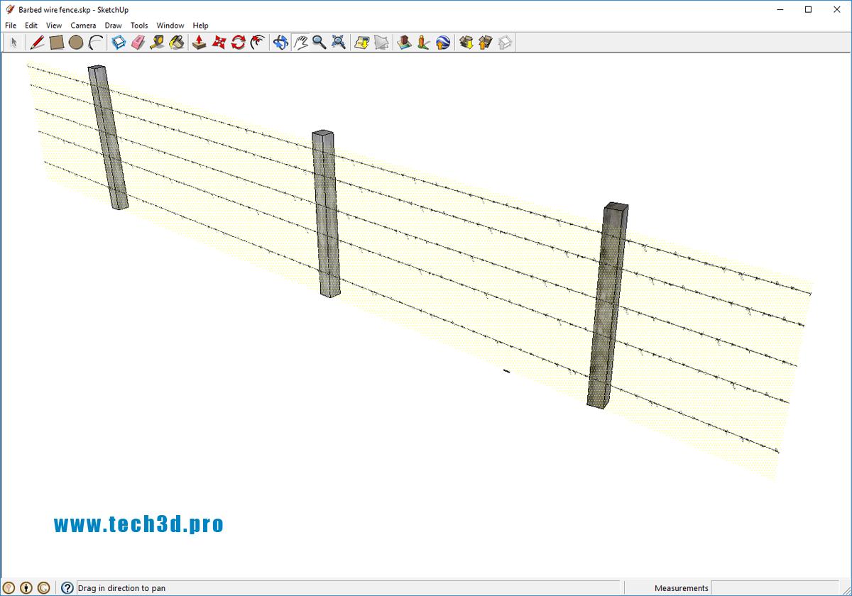 3D модель ограждения из колючей проволоки