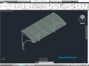 3D модель навеса для стоянки автомобилей
