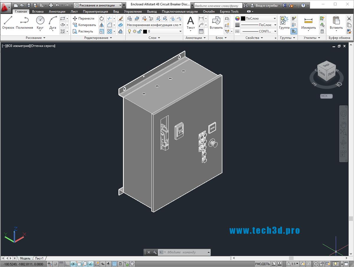 3D модель устройства плавного пуска в шкафе