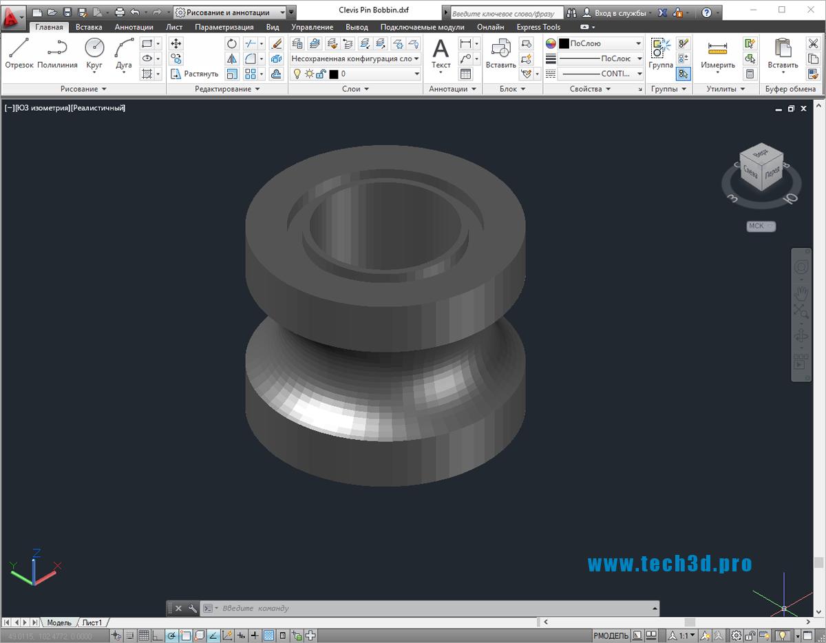 3D модель шпульки для промышленных машин