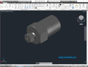 3D модель штуцера с гайкой для газового баллона