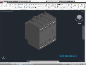 3D модель блока дополнительных контактов 2НО 2НЗ