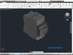 3D модель контактора с катушкой 42В