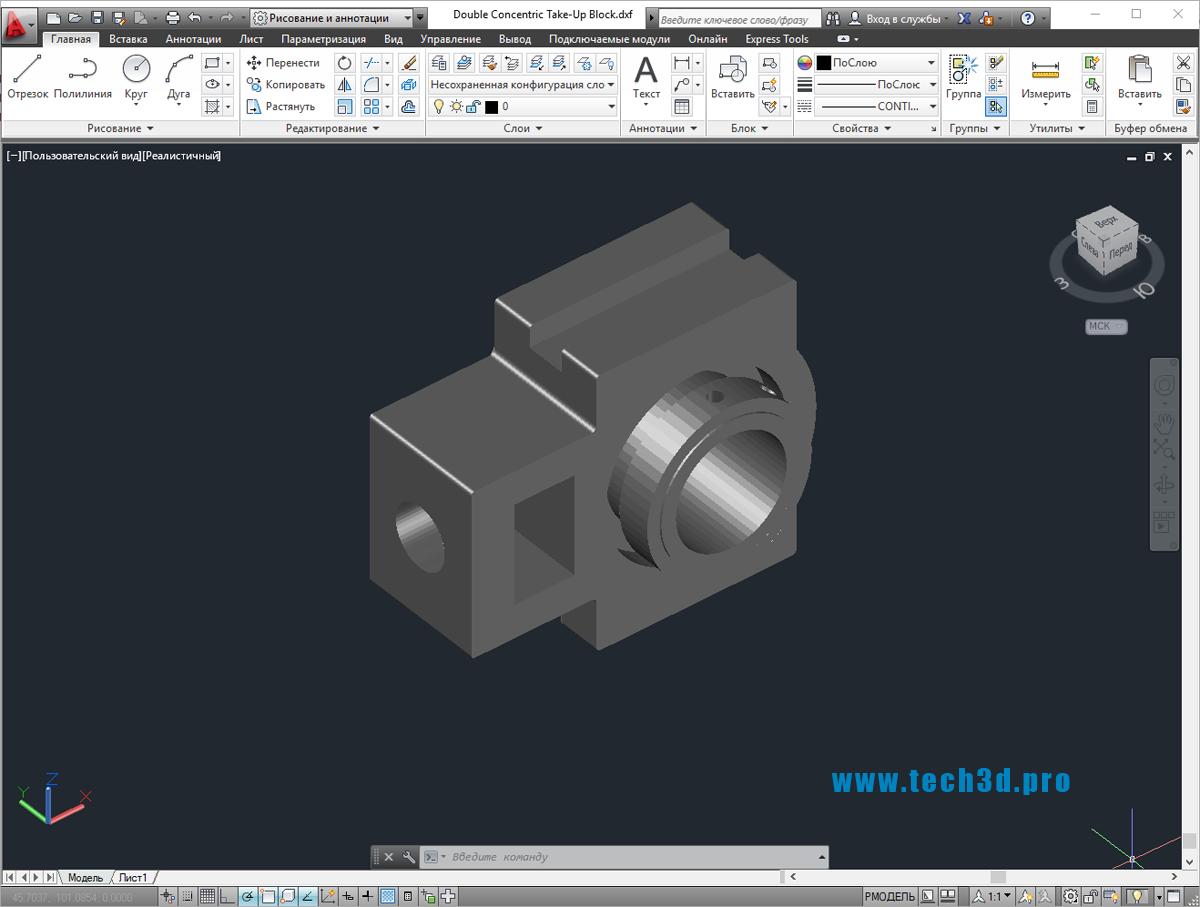 3D модель зажимных элементов крепления труб