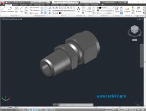 3D модель штуцера с обжимным кольцом