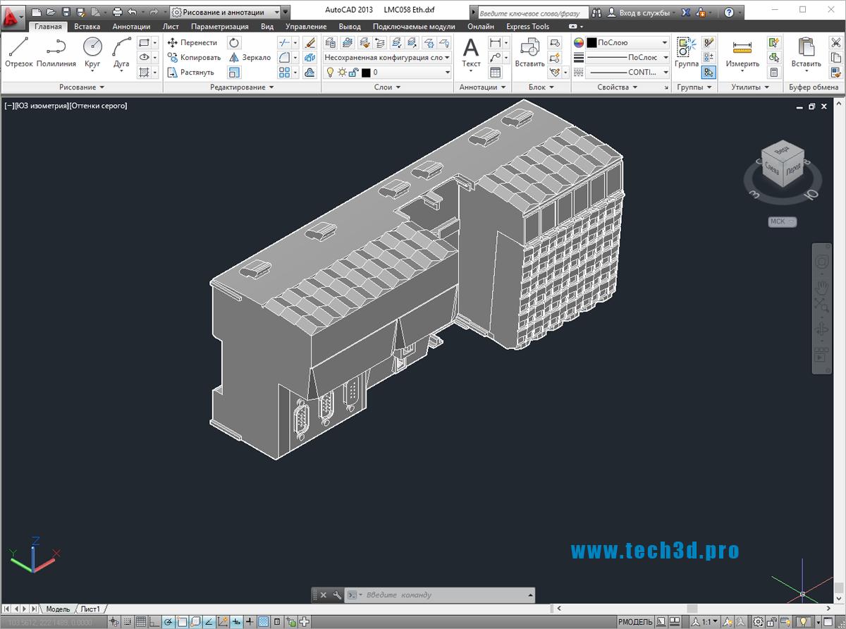3D модель контроллера Modicon Ethernet