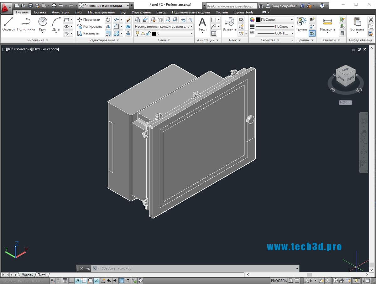 3D модель промышленной ПК панели