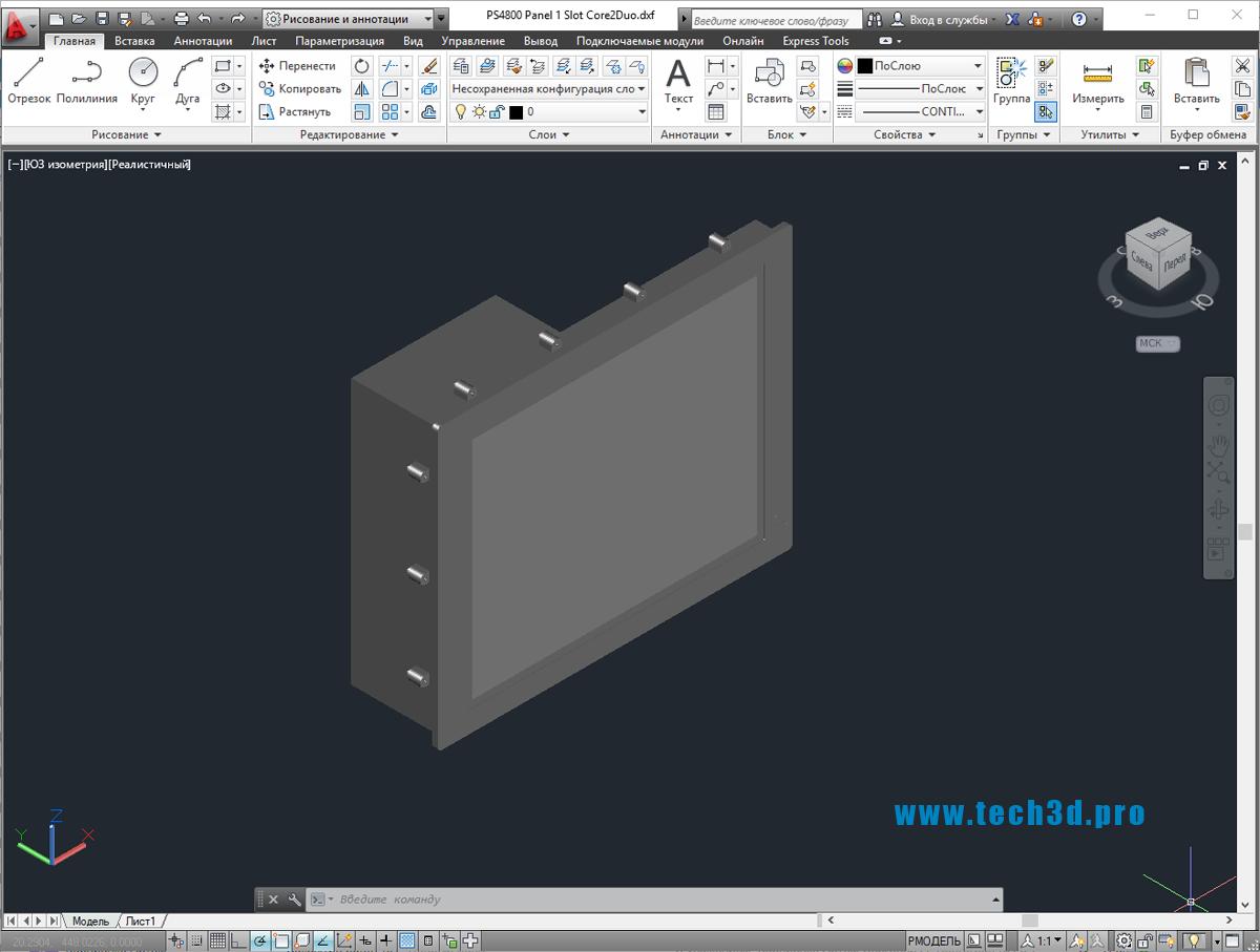 3D модель промышленной сенсорной панели